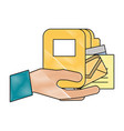 hand holding folder file mail papers office vector image vector image