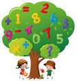 kids watering the tree with numbers vector image vector image