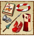 Knight different items of the middle ages vector image vector image