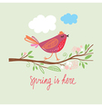 little cute bird on a brunch vector image