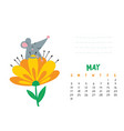 may calendar page with cute rat in blooming flower vector image vector image