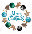 merry christmas card with christmas elements for vector image