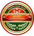 merry christmas gold label vector image