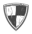 monochrome knight wooden shield concept vector image vector image