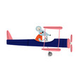 mouse pilot flying on retro plane in sky cute vector image