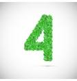 Number four made up of green leaves vector image vector image