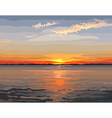 painted beautiful sunset on the river vector image vector image