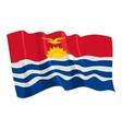 political waving flag of kiribati vector image vector image
