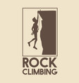 poster logo silhouette man hanging on the cliff vector image