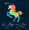 rainbow unicorn background vector image vector image