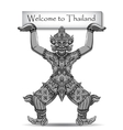 Rakshasa Thai statue Black outlines isolated on vector image