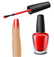 Red nail polish with woman finger vector image vector image