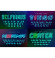set of futuristic decorative fonts vector image vector image