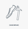 shoe repair outline icon vector image vector image