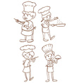 Simple plain sketches of the chefs vector image vector image