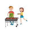 smiling man and woman cooking barbecue on the vector image vector image