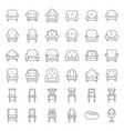 sofa and chair thin line icon set vector image vector image