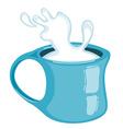 Splash of milk in a mug Isolated on white vector image