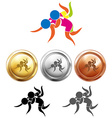 Sport icon design for wrestling and medals vector image vector image