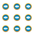 textile buckle icons set flat style vector image vector image