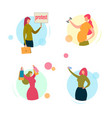 woman characters protesting exercising shopping vector image vector image