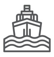 yacht boat trip line icon journey and cruise vector image vector image