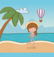 young girl on beach scene vector image vector image