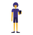 young man with afro and smartphone vector image