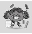girl cartoon child notebook vector image