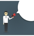 Business man shouting in a megaphone vector image