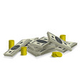 money stack with shadows vector image