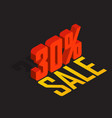30 percent off sale red isometric object 3d vector image vector image