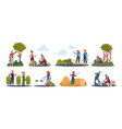 agricultural work cartoon farmer characters vector image vector image