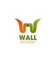 art center w letter icon vector image vector image