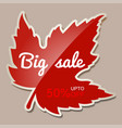 autumn big sale banner with red maple leaf - 50 vector image