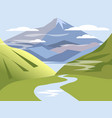 background landscape valley hills with river vector image vector image