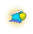 Blue tsunami wave and yellow shield with tick icon vector image vector image