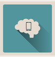 brain thinking on the smartphone on blue vector image vector image