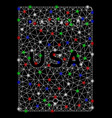 bright mesh network american passport with flash vector image vector image