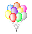 bundle colored balloons isolated on white vector image