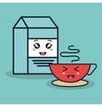 cartoon box milk and cup coffee with facial vector image