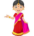 cartoon indian woman in traditional clothes vector image vector image