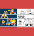 colorful vehicles with funny animals driver busy vector image vector image