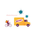 courier characters delivering food products to vector image