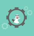cute arab businessman running in cogwheel vector image