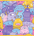cute monsters crowd seamless pattern in boho style vector image vector image
