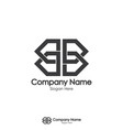 double initial letter b and mirror logo design vector image