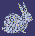 Easter design with bunny from flowers forget me vector image vector image