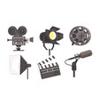 film industry equpment set film reel camera vector image