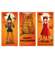 halloween banner set with girls in fancy dress vector image